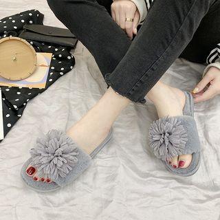 Flower Fake-fur Slippers