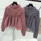 Striped Ruffle Long-sleeve Top