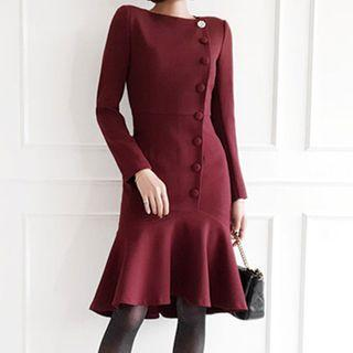 Buttoned Long-sleeve Ruffled Hem Sheath Dress