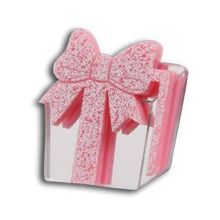 Sweet Pink Glitter Present Silver Ring