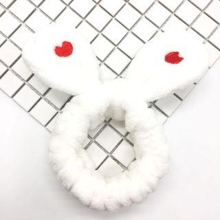 Chenille Embroidered Heart Rabbit Ear Face Wash Headband