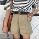 Cuff-hem Wide-leg Shorts With Belt