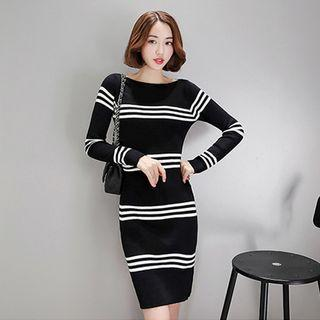 Striped Trim Long-sleeve Knit Dress