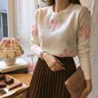 Flower Patterned Knit Top