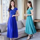 Cap-sleeve Maxi Chiffon Dress