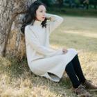 Turtleneck Cable-knit Midi Dress