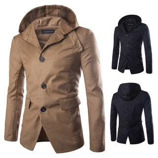Hooded Single-breasted Trench Jacket