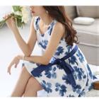 Floral Print Sleeveless Dress With Sash