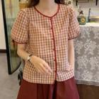 Contrast-trim Gingham Short-sleeve Shirt / Plain A-line Skirt