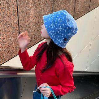 Floral Print Denim Bucket Hat