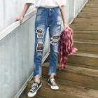 Mesh Panel Distressed Washed Jeans