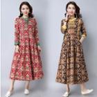 Patterned Midi A-line Dress