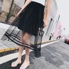 Mesh Midi Pleated Skirt