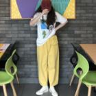 Elbow-sleeve Printed T-shirt / Harem Pants