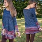 Long-sleeve Patterned T-shirt Dress