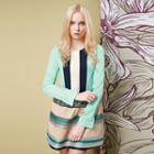 Long-sleeve Contrast-color Blouse