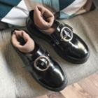 Buckled Faux Patent Leather Loafers
