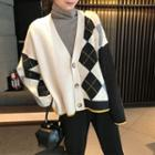 Color Block Cardigan Off-white - One Size
