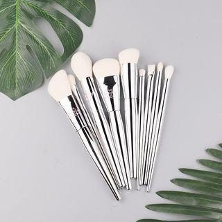 Set Of 9: Makeup Brush Silver - One Size