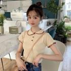 Short-sleeve Contrast Trim Knit Polo Shirt
