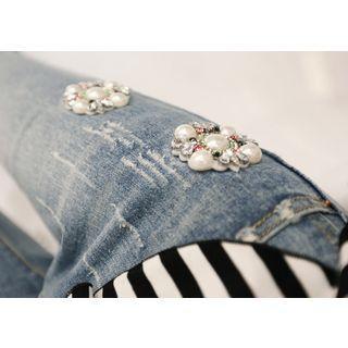 Embellished Distressed Skinny Jeans