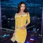 Long-sleeve Cold Shoulder Letter Mini Bodycon Dress