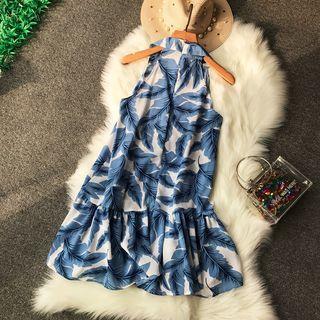 Leaf-print Sleeveless Halter Dress