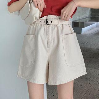 High-waist Pocket-side Wide-leg Shorts