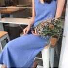 Plain V-neck Sleeveless Dress / Plain Cardigan