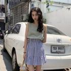 Plain Sleeveless Top / Plaid A-line Skirt