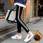 Contrast-trim Fleece-lined Leggings Black - One Size