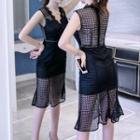 Sleeveless V-neck Perforated Sheath Dress
