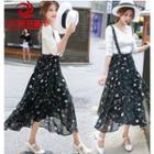 Floral Suspender Midi Skirt