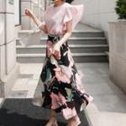 Set: Ruffle Chiffon Top + Floral Maxi Skirt