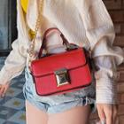Faux Leather Flap Chain Crossbody Bag