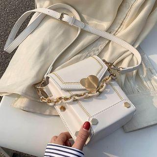 Mini Heart Accent Flap Crossbody Bag