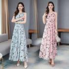 Feather Print Sleeveless Maxi A-line Chiffon Dress