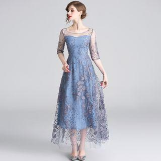 Flower Embroidered 3/4-sleeve A-line Maxi Mesh Dress