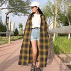 Buttoned Plaid Long Coat