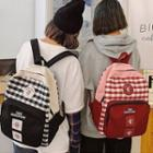 Plaid Lettering Canvas Zip Backpack