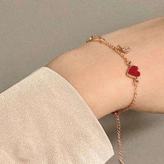Heart Bracelet 1 Pc - Bracelet - Red Love Heart - Gold - One Size