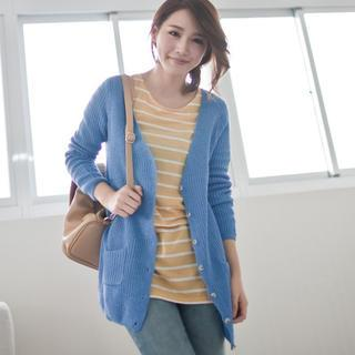V-neck Dual-pocket Cardigan