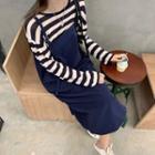 Striped Knit Top / Midi A-line Pinafore Dress