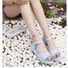 Velcro Faux-leather Flat Sandals