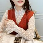 Long-sleeve Frill Trim Floral Lace Top