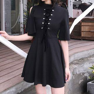 Short-sleeve Lace-up A-line Dress