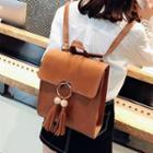 Set: Tasseled Faux Leather Backpack + Crossbody Bag