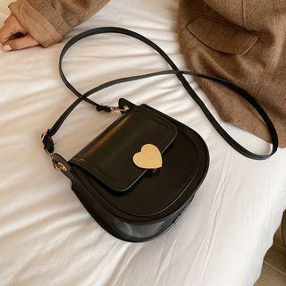 Heart Accent Flap Crossbody Bag