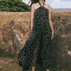 Floral Printed Halter Open Back Maxi Dress