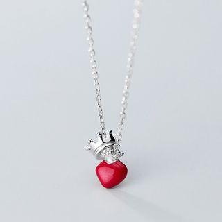 925 Sterling Silver Heart & Crown Pendant Necklace S925 Silver - Necklace - One Size